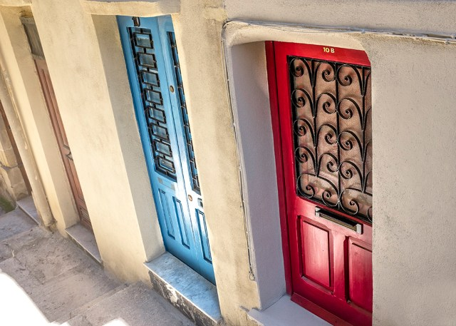 red door and blue door in valletta malta