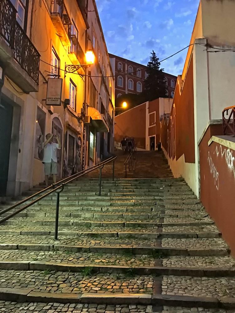 Calcada do Duque Lisbon dusk, Bairro Alta, Magic bus, street