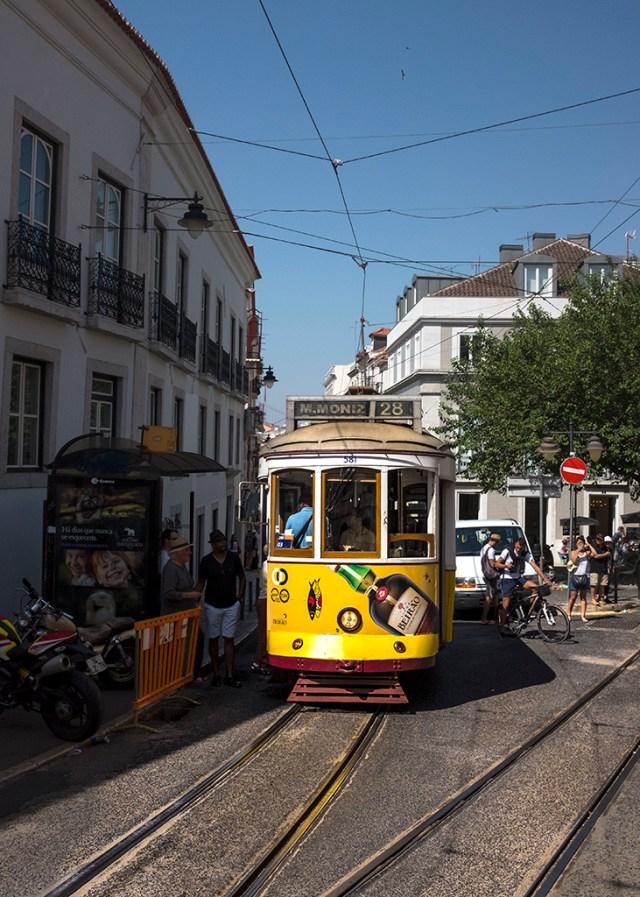Tram no. 28 tracks Lisbon transport which way