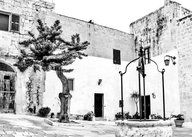 A Piazza in Mdina Silent City in Malta monochrome Black&white challenge