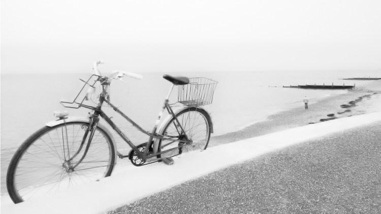 Black&white challenge Prom:Lone Cyclist monochrome wheels