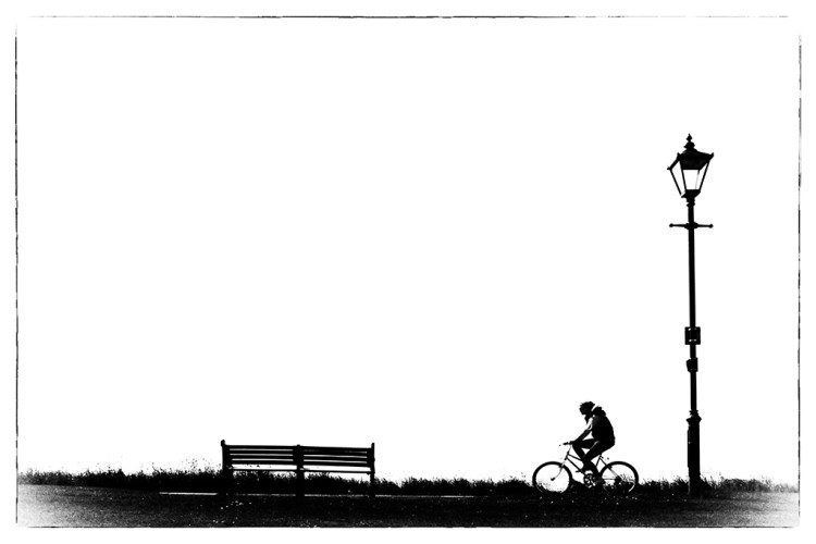 Black&white challenge Prom: Cyclist in Silhouette wheels monochrome