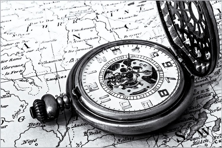 Pocket Watch on Old Map monochrome pocket watch atlas map monochrome Black&White Challenge