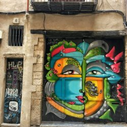 BARCELONA: Gothic Quarter doors eyes graffiti