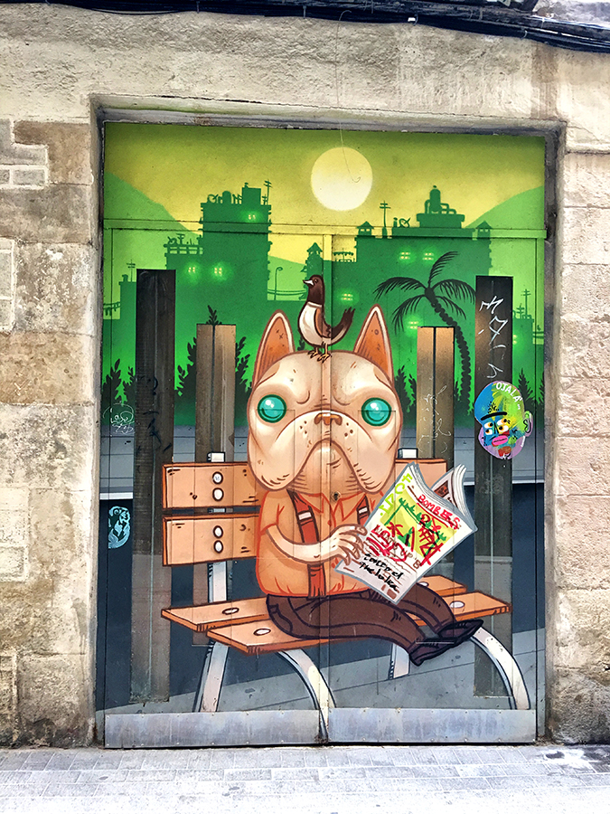 Barcelona , doors, graffiti , dog , bird, Gothic Quarter
