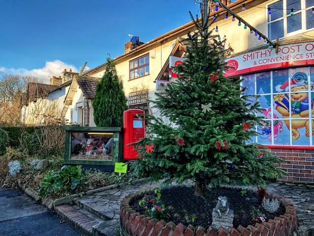 VILLAGE LIFE: The Post Office, Christmas, Lancashire , crib