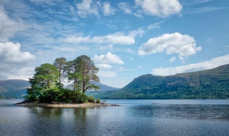 Island in sun Derwentwater Lake District Cumbria