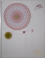 Oro, tråd, organzaväv och akvarell, 146x113 cm