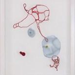 Samvaro, tråd, organzaväv och akvarell, 41x31 cm