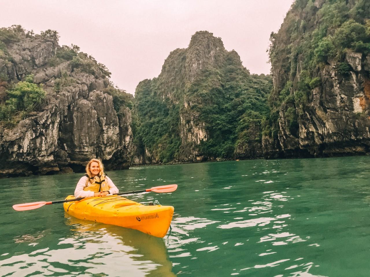 Kayaking in Halong Bay, Vietnam