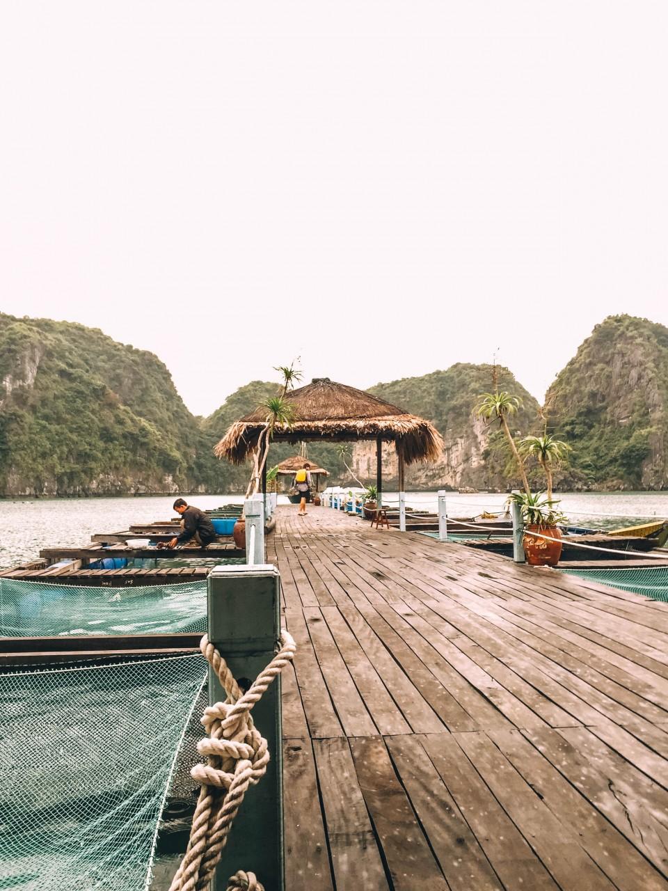 Dock in Vung Vieng fishing village in Halong Bay, Vietnam