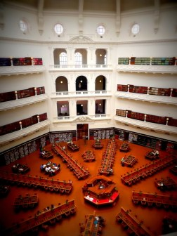 I loved the simplicity of the floor space in the State Library in Melbourne - all leading out from the central desk.