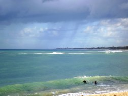 Mandurah (Western Australia) has some of the most idyllic beaches out there; even in the slightly cloudy weather, they still looked stunning! I took this one as my brothers rode their skim-board down the beach.
