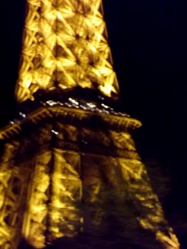 The night lights of the Eiffel Tower were a wonderful sight - but also one that my camera wasn't so consistent at photographing! This one resulted when I tried to get a close-up shot as we went by on our barge and the result, while unfocussed, is still quite pretty....if I do say so myself ;)