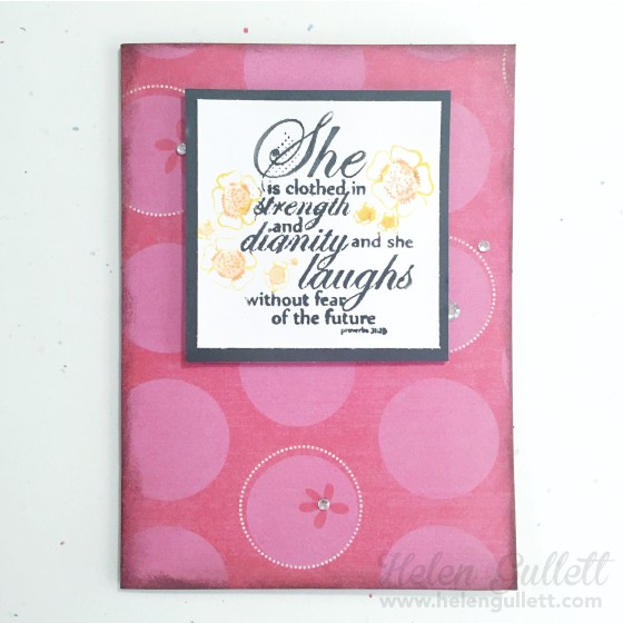 She is clothed in strength | by Helen Gullett http://helengullett.com/?p=7859 #handmadecard #cardmaking #fightthegoodfight #unitystampco #creatingjoyfully #stamping #stampingwithstampersbigbrushpens #stampersbigbrushpens #fabercastell