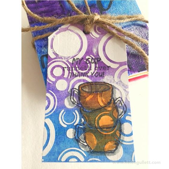 My first mixed media project: Thank You Gift Tag. More about it on my blog: http://helengullett.com/?p=7939 | #mixedmedia #stamplorations #artplorations #fabercastell #gelatos #ctmh #cansonwatercolorpaper #watercoloring #stamping #coloring #gifttag #thankyoutag #thanksgiving #handmadE #diy #coffeelovingpapercrafters #coffeelovingcardmakers #homemadegesso #homemademodelingpaste