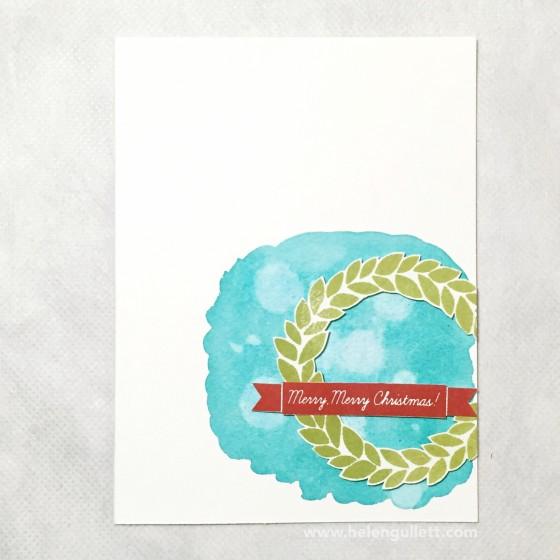 Merry, Merry Christmas | Handmade by Helen Gullett #christmascard #cardmaking #handmadecard #watercoloring #stamping