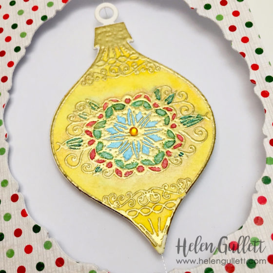 Floating Watercolored Ornament Card -- www.helengullett.com/?p=10637