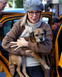 Diane Keaton and her dog.