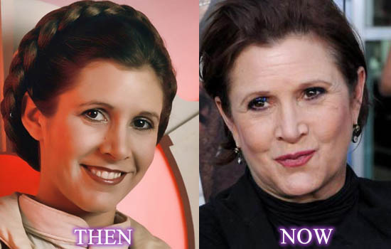 Carrie Fisher, Then and Now