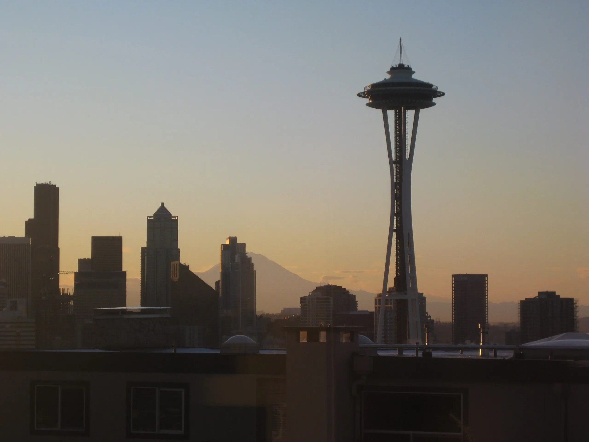 The view from home, long ago: Space Needle and Mount Rainier Photo credit: Helen Holter
