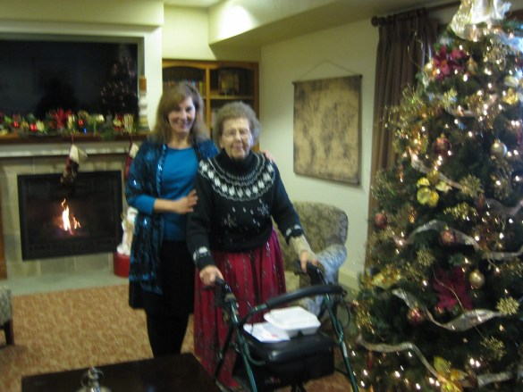 """Christmas at the assisted living residence in Racine, Wisconsin; Mom refers to it as """"Downton Abbey."""" (The photo's a bit blurry – shot by a busy but patient nurse!)"""