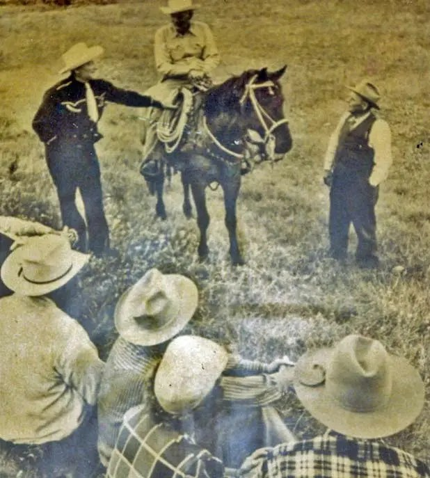 My Grandpa Lute, relatives, and buddies work a Montana cattle roundup in 1951 <br data-recalc-dims=