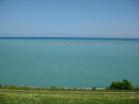 This area is a migratory path for birds; the view is from the Lake Michigan shoreline in Racine.