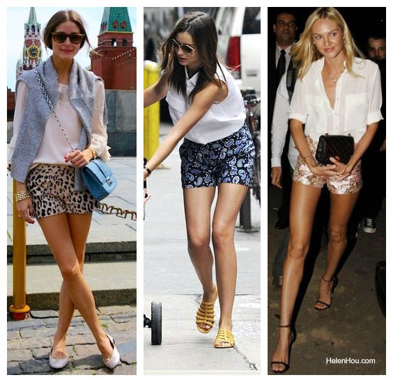 The Art of Accessorizing-HelenHou.com-Crisp white top with statement shorts-stylish outfits from Olivia Palermo, miranda kerr and Candice Swanepoel