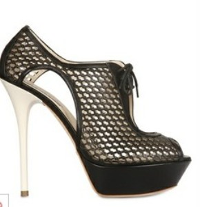 The Art of Accessorizing-HelenHou.com-Grey Mer leather net lace up sandals