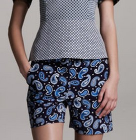 The Art of Accessorizing-HelenHou.com-Stella McCartney paisley stretch-silk short (same pair on Miranda Kerr)