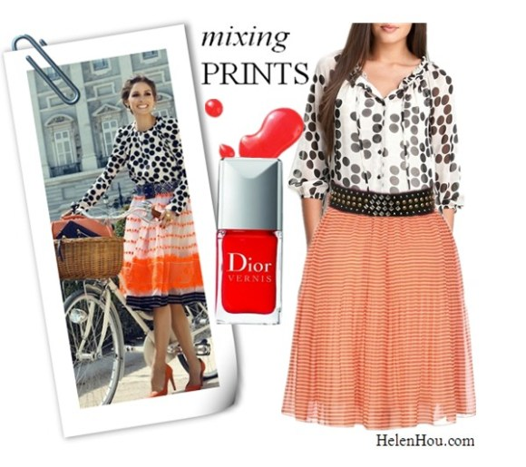 Transitional Looks, Olivia Palermo outfits, Olivia Palermo style,Olivia Palermo for Tatler Russia,john galliano yellow top, miu miu print pants,carrera y carrera jewelry, Ana Locking polka dot top, Marni tulle skirt, Giorgio Armani red pumps, what to  wear with polka dot, what to wear with print pants,   Bellatrix polka dot blouse,French Connection PRIMROSE STRIPE MINI FLARESKRT,Urban Outfitters Mixed Metal Wide studded Belt,Dior Vernis Nail Lacquer helenhou, helen hou, the art of accessorizing, accessoriseart, celebrity style, street style, lookbook, model off-duty,red carpet looks,red carpet looks for less, fashion, style, outfits, fashion guru, style guru, fashion stylist, what to wear, fashion expert, blogger, style blog, fashion blog,look of the day, celebrity look,celebrity outfit,designer shoes, designer cloth,designer handbag,