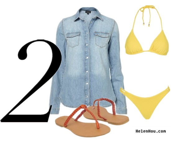 Denim shirt,chambray shirt, model off duty look, street style,Sui He,Liu Wen,Arizona Muse,Anja Rubik,Jun-hee Ko,Annalynne Mccord   Denim shirt,chambray shirt, Topshop chambray shirt,Tatjana Anika bikini,yellow bikini,Forever 21 sandals, what to wear,how to wear with, helenhou, helen hou, the art of accessorizing,   accessoriseart, celebrity style, street style,   lookbook, model off-duty,red carpet looks,red   carpet looks for less, fashion, style, outfits,   fashion guru, style guru, fashion stylist, what to   wear, fashion expert, blogger, style blog, fashion   blog,look of the day, celebrity look,celebrity   outfit,designer shoes, designer cloth,designer   handbag,