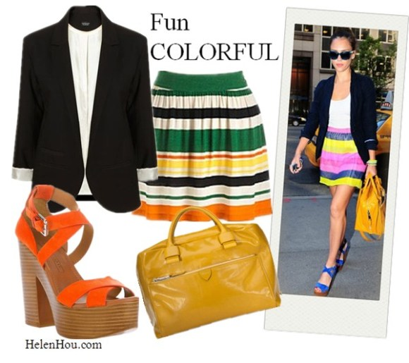 what to wear with black blaze, what to wear with navy blazer, jessica Alba, Chinese Actress Gao Yuanyuan, Kristen Stewart, Korean singer Choi Soo Young,   Marc Jacobs yellow leather bag, Elle Laurie multi color skirt, Ralph Lauren cobalt sandals, white tee shirt,Thierry Lasry sunglasses, MARC JACOBS 'Antonia' Leather Satchel  Topshop black blazer, Kensie stripe skirt, helenhou, helen hou, the art of accessorizing, accessoriseart, celebrity style, street style, lookbook, model off-duty,red carpet looks,red carpet looks for less, fashion, style, outfits, fashion guru, style guru, fashion stylist, what to wear, fashion expert, blogger, style blog, fashion blog,look of the day, celebrity look,celebrity outfit,designer shoes, designer cloth,designer handbag,