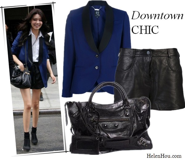 what to wear with black blaze, what to wear with navy blazer, Korean singer Choi Soo Young, girls generation, navy blazer with black lapel,  leather shorts, booties with socks,McQ By Alexander McQueen contrast lapel blazer,Alexander Wang leather shorts, Balenciaga city bag,   helenhou, helen hou, the art of accessorizing, accessoriseart, celebrity style, street style, lookbook, model off-duty,red carpet looks,red carpet looks for less, fashion, style, outfits, fashion guru, style guru, fashion stylist, what to wear, fashion expert, blogger, style blog, fashion blog,look of the day, celebrity look,celebrity outfit,designer shoes, designer cloth,designer handbag,
