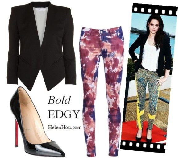 what to wear with black blaze, what to wear with navy blazer, Kristen Stewart,Balenciaga by Nicolas Ghesquière bold printed pants, Juicy Couture white shirt,Rebecca Minkoff black Becky jacket,Helmut Lang blazer,Paige printed pants,Christian Louboutin pumps,     helenhou, helen hou, the art of accessorizing, accessoriseart, celebrity style, street style, lookbook, model off-duty,red carpet looks,red carpet looks for less, fashion, style, outfits, fashion guru, style guru, fashion stylist, what to wear, fashion expert, blogger, style blog, fashion blog,look of the day, celebrity look,celebrity outfit,designer shoes, designer cloth,designer handbag,
