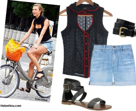 Karlie Kloss,off-duty look, fashion week,fall 2012 couture,paris fashion week,look for less,strap sandals, roman sandals,denim shorts,summer outfit,  helenhou, helen hou, the art of accessorizing, accessoriseart, celebrity style, street style, lookbook,