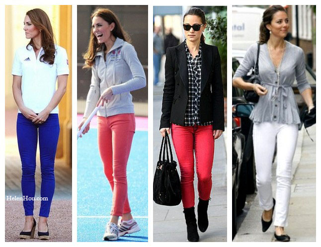 Kate Middleton,Pippa Middleton,colored jeans, how to wear colored denim, red skinny jeans, blue skinny jeans, white skinny jeans,  helenhou, helen hou, the art of accessorizing, accessoriseart, celebrity style, street style, lookbook, model off-duty,red carpet looks,red carpet looks for less, fashion, style, outfits, fashion guru, style guru, fashion stylist, what to wear, fashion expert, blogger, style blog, fashion blog,look of the day, celebrity look,celebrity outfit,designer shoes, designer cloth,designer handbag,