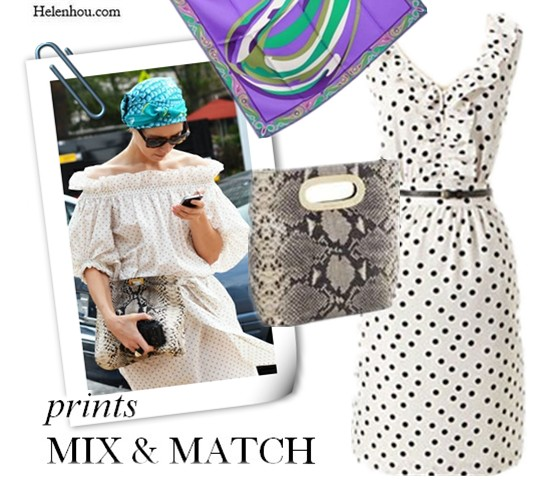 polka dot dress,polka dot, python clutch, oversized snakeskin clutch, python  bag, printed scarf, street style, Tommy ton,jak and jil, head scarf, how to wear polka dot, how to wear python, how to wear head scarf, how to mix and match prints,polka dot and python, polka dot and snakeskin, summer outfit,   helenhou, helen hou, the art of accessorizing, accessoriseart, celebrity style, street style, lookbook, model off-duty,red carpet looks,red carpet looks for less, fashion, style, outfits, fashion guru, style guru, fashion stylist, what to wear, fashion expert, blogger, style blog, fashion blog,look of the day, celebrity look,celebrity outfit,designer shoes, designer cloth,designer handbag,