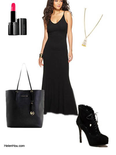 Anja Rubik, black maxi dress,model off-duty,look for less,  helenhou, helen hou, the art of accessorizing,   accessoriseart, celebrity style, street style,   lookbook,