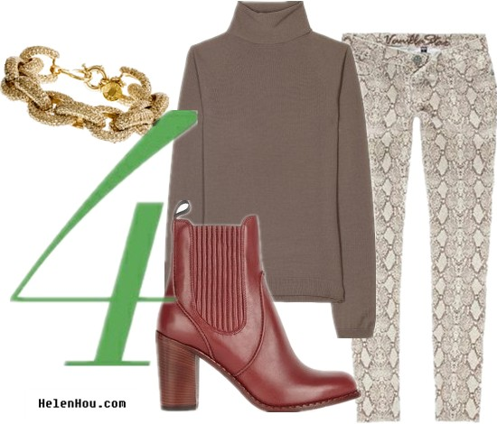 Python print pants,how to wear turtleneck brown sweater, how to wear burgundy ankle boots,how to wear snakeskin pants, Bottega Veneta  wool sweater,turtleneck sweater,brown sweater,Vanilla Star snakeskin pants,Marc by Marc Jacobs boots, burgundy boots,ankle boots,leather boots, helenhou, helen hou, the art of accessorizing, accessoriseart, celebrity style, street style, lookbook, model off-duty,red carpet looks,red carpet looks for less, fashion, style, outfits, fashion guru, style guru, fashion stylist, what to wear, fashion expert, blogger, style blog, fashion blog,look of the day, celebrity look,celebrity outfit,designer shoes, designer cloth,designer handbag,