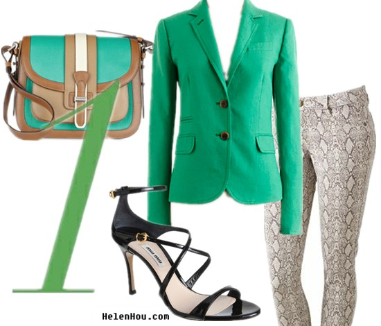 Python print pants,how to wear green blazer, how to wear snakeskin pants,hwo to wear strap sandals,  J.Crew green blazer, school boy blazer,Mudd snakeskin pants,Miu Miu black strap sandals,cross strap sandals, summer sandals,Michael Kors bag,colorblock bag, helenhou, helen hou, the art of accessorizing, accessoriseart, celebrity style, street style, lookbook, model off-duty,red carpet looks,red carpet looks for less, fashion, style, outfits, fashion guru, style guru, fashion stylist, what to wear, fashion expert, blogger, style blog, fashion blog,look of the day, celebrity look,celebrity outfit,designer shoes, designer cloth,designer handbag,