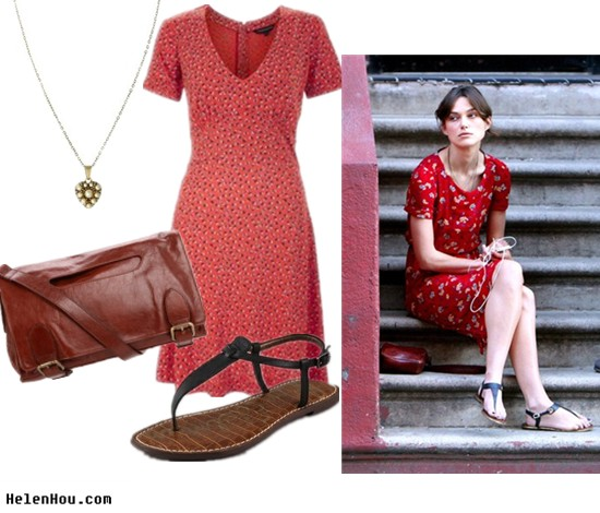 Keira Knightley,street style,look for less,French Connection dress,Sam Edelman strap sandals,Latico brown leather bag, Cath Kidston necklace,  helenhou, helen hou, the art of accessorizing, accessoriseart, celebrity style, street style, lookbook, model off-duty,red carpet looks,red carpet looks for less, fashion, style, outfits, fashion guru, style guru, fashion stylist, what to wear,