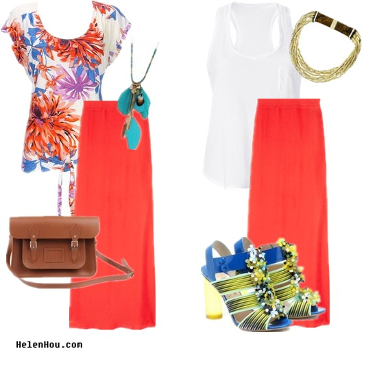 summer maxi dress, bright maxi skirt, what to wear, All About Tom bag,Forever21 necklace,Splendid shirt,Peter Pilotto sandals,Michael Kors necklace helenhou, helen hou, the art of accessorizing, accessoriseart, celebrity style, street style, lookbook, model off-duty,