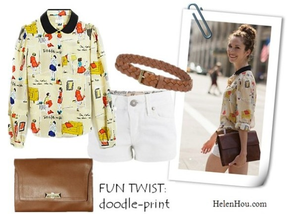 Kate Spade printed Jessie top,  garance dore collaboration, doodle print blouse, street style,party look, John Galliano, white denim shorts,Paul & Joe brown woven belt,Vince Camuto brown leather clutch,    helenhou, helen hou, the art of accessorizing, accessoriseart, celebrity style, street style, lookbook, model off-duty,red carpet looks,red carpet looks for less, fashion, style, outfits, fashion guru, style guru, fashion stylist, what to wear, fashion expert, blogger, style blog, fashion blog,look of the day, celebrity look,celebrity outfit,designer shoes, designer cloth,designer handbag,