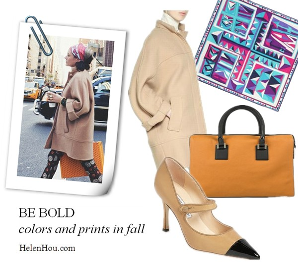 how to accessories brown coat, Chloé coat, Miu Miu shirt, Kenzo pants, Hermès scarf, Goyard bag, Hardy Brothers Jewellers bracelet, printed scarf, pritned headscarf, Emilio Pucci scarf, Victoria Beckham handbag,Manolo Blahnik captoe mary jane shoes,camel coat, printed pants, orange sturectured handbag, Garance Dore,new york street style,garancedore.fr,  helenhou, helen hou, the art of accessorizing, accessoriseart, celebrity style, street style, lookbook, model off-duty,red carpet looks,red carpet looks for less, fashion, style, outfits, fashion guru, style guru, fashion stylist, what to wear, fashion expert, blogger, style blog, fashion blog,look of the day, celebrity look,celebrity outfit,designer shoes, designer cloth,designer handbag,