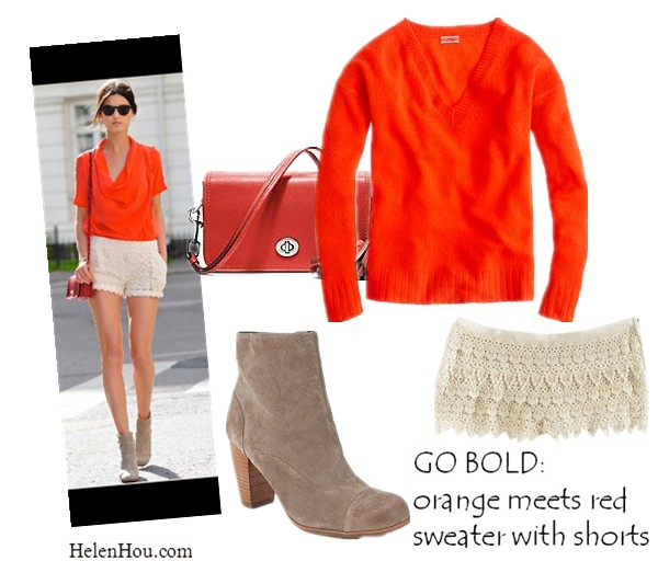 Hanneli Mustaparta,hanneli.com,J. Crew CASHMERE V-NECK SWEATER,BB Dakota lace shorts,Dolce Vita Suede Ankle Boot,Coach legacy leather penny shoulder purse,red cross body bag,orange sweater,how to wear lace shorts, what to wear with ankle boots,helenhou, helen hou, the art of accessorizing, accessoriseart, celebrity style, street style, lookbook, model off-duty,red carpet looks,red carpet looks for less, fashion, style, outfits, fashion guru, style guru, fashion stylist, what to wear, fashion expert, blogger, style blog, fashion blog,look of the day, celebrity look,celebrity outfit,designer shoes, designer cloth,designer handbag,