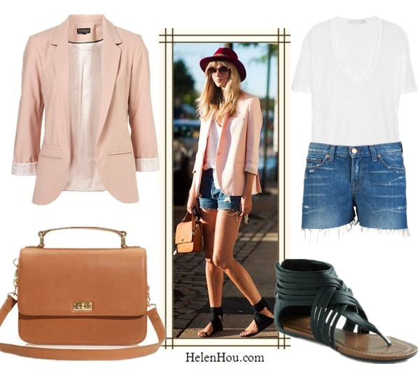 Julia Stegner street style,how to wear pink blazer,Topshop STRUCTURED BLAZER, Topshop pink boyfriend blazer,KAIN white silk blend T-shirt,J Brand cut off short, J Brand distressed denim shorts,modcloth ankle strap sandals, roman sandals, J Crew Edie purse, helenhou, helen hou, the art of accessorizing, accessoriseart, celebrity style, street style, lookbook, model off-duty,red carpet looks,red carpet looks for less, fashion, style, outfits, fashion guru, style guru, fashion stylist, what to wear, fashion expert, blogger, style blog, fashion blog,look of the day, celebrity look,celebrity outfit,designer shoes, designer cloth,designer handbag,
