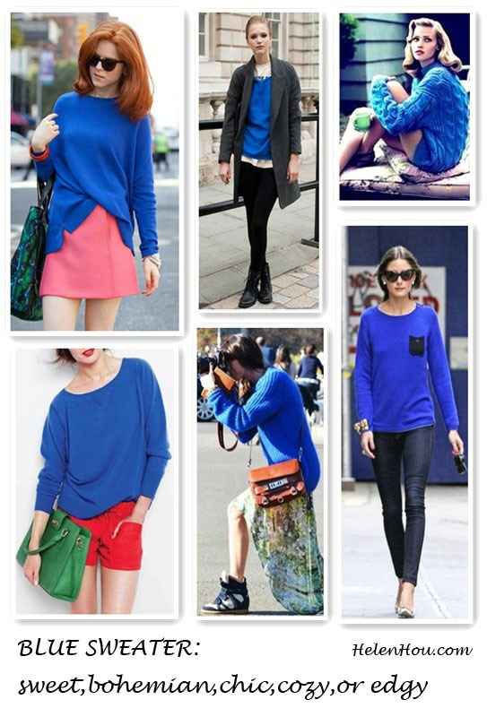What to wear with a coblat blue sweater, Olivia Palermo, Chinti and Parker cobalt blue sweater,Tom Ford sunglasses, white sneakers, skinny jeans, red shorts, green leather handbag, pink skirt, j crew look, jcrew bag, helenhou, helen hou, the art of accessorizing, accessoriseart, celebrity style, street style, lookbook, model off-duty,red carpet looks,red carpet looks for less, fashion, style, outfits, fashion guru, style guru, fashion stylist, what to wear, fashion expert, blogger, style blog, fashion blog,look of the day, celebrity look,celebrity outfit,designer shoes, designer cloth,designer handbag,