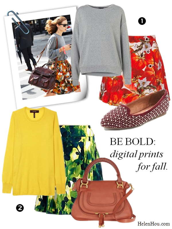 How to wear printed skirt, digital printed skirt, topshop sweatshirt, J Crew Tippi sweater,Dolce & Gabbana printed skirt,Jeffrey Campbell loafers, Isabel Marant yellow sweater,Jones New York Collection printed skirt,Chloé bag, helenhou, helen hou, the art of accessorizing, accessoriseart, celebrity style, street style, lookbook, model off-duty,red carpet looks,red carpet looks for less, fashion, style, outfits, fashion guru, style guru, fashion stylist, what to wear, fashion expert, blogger, style blog, fashion blog,look of the day, celebrity look,celebrity outfit,designer shoes, designer cloth,designer handbag,